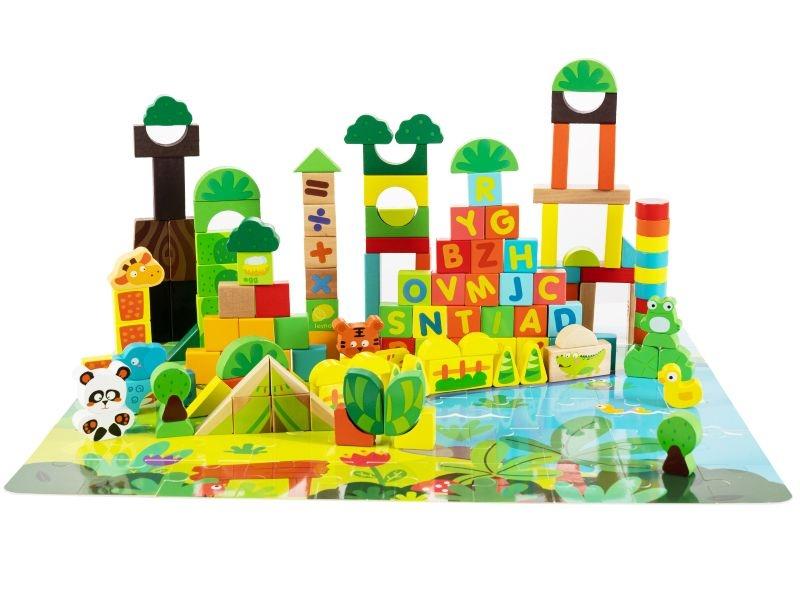 Drevené kocky + puzzle podložka