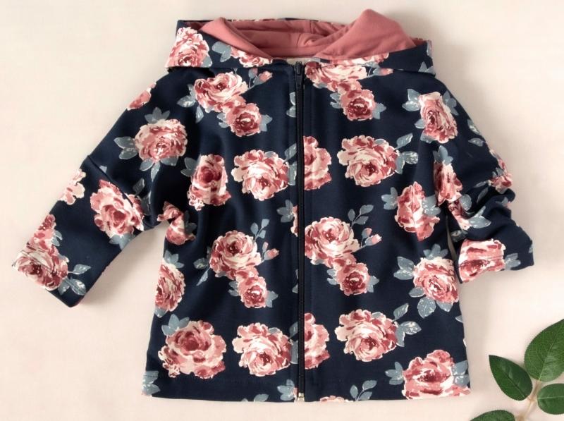 Detská mikina, bunda s kapucňou, Ruža, staroružová, tm. modrá, veľ. 110