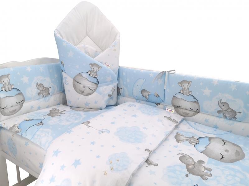 3-dielna sada mantinel s obliečkami + zavinovačka zadarmo - Baby Elephant,modrý, 135x100cm