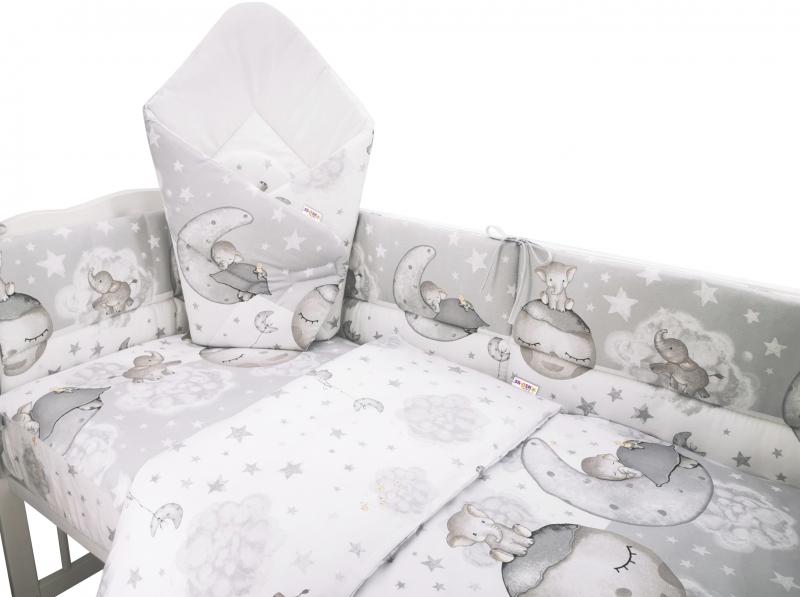 3-dielna sada mantinel s obliečkami + zavinovačka zadarmo - Baby Elephant,šedá,135x100cm