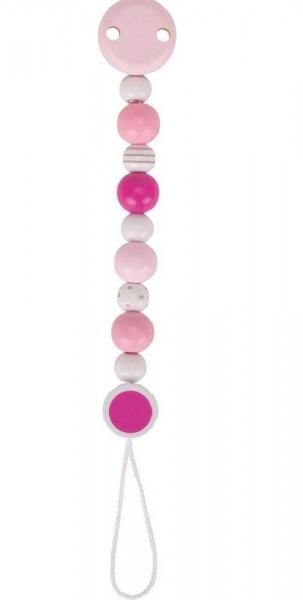 Goki Drevený retiazka na cumlík 16 cm - ružovo biely