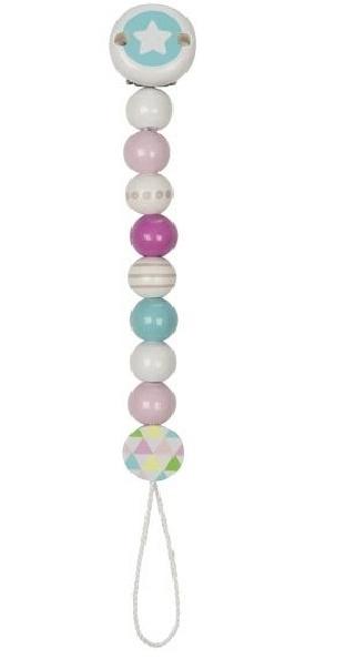 Goki Drevený retiazka na cumlík 17 cm - Hviezdička, tyrkysovo-ružovo-biela
