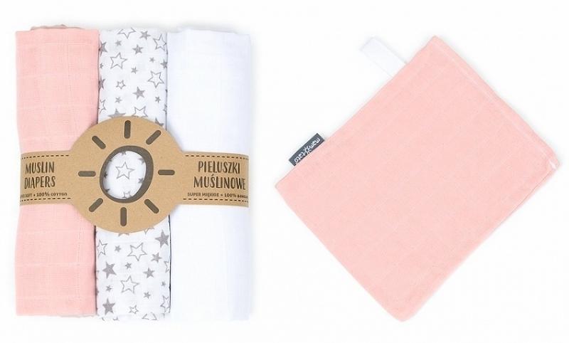 Mamo-Tato mušelínové plienky 3ks + žinka zadarmo - biela, hvězdičky, růžová