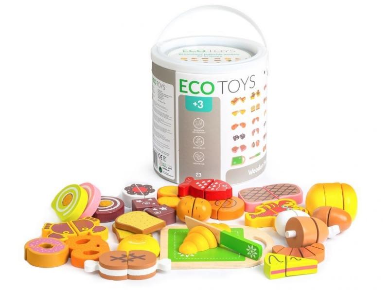 Drevené jedlo v vedierku ECO TOYS - 23 kusov