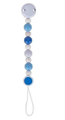 Goki Drevený retiazka na cumlík 16 cm - modro - biely