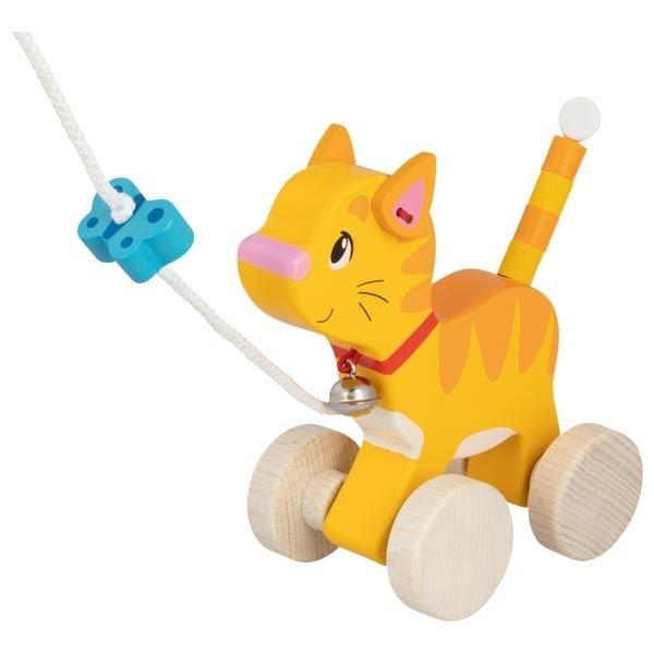 Goki Edukačná drevená hračka s rolničkou, 15 cm ťahacie - Mačička