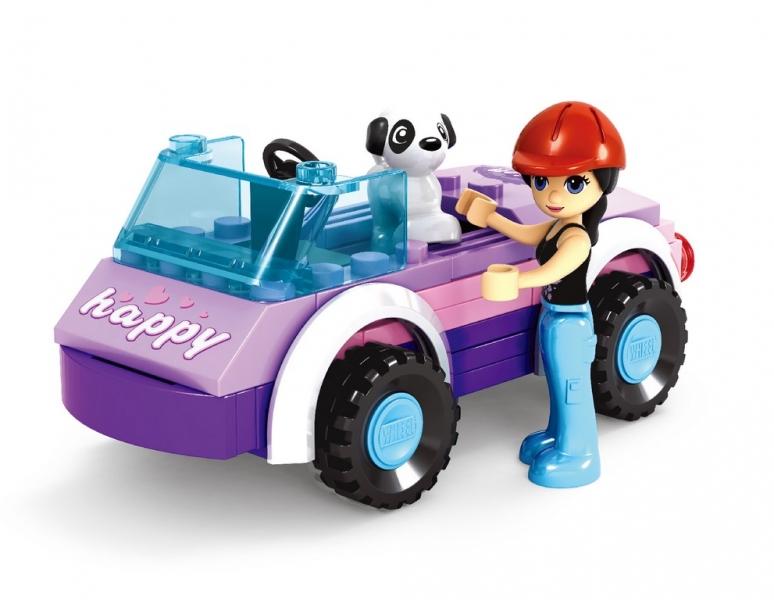 Stavebnice AUSINI dívčí svět v sáčku - autíčko 56 dílů