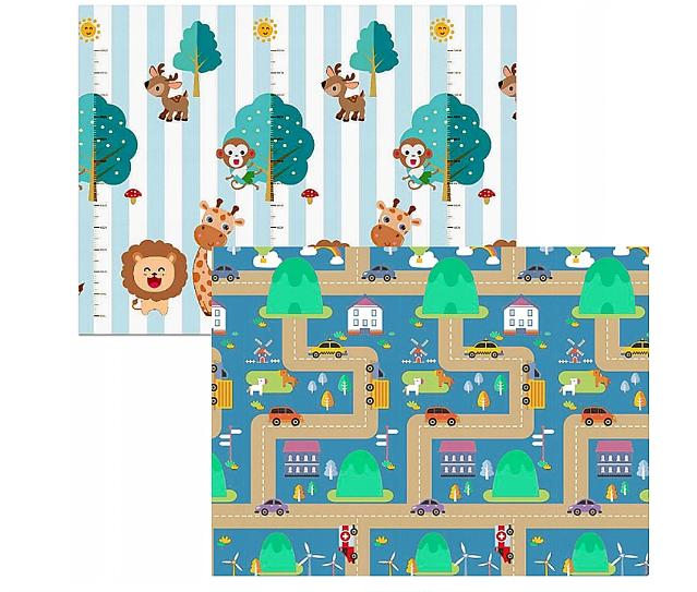Kidsee Skladací obojstranná penová hrací deka, koberec 150x200cm - Zvieratka a auta