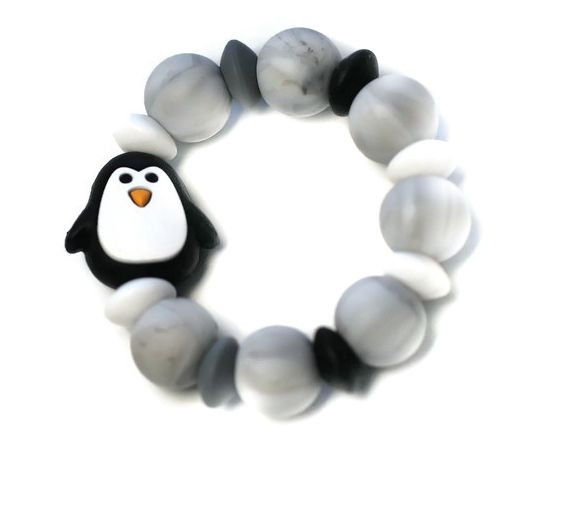 Mimijo Silikónové hryzátko tučniak - čierné