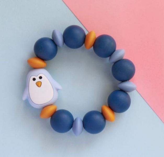 Mimijo Silikónové hryzátko tučniak - modré