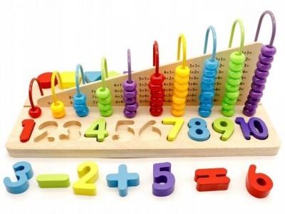Eco toys Edukačná drevená hračka, počítadlo + drevené kocky