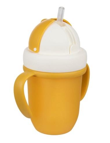 Canpol babies Hrnček so silikónovou slamkou - žltá, 210 ml