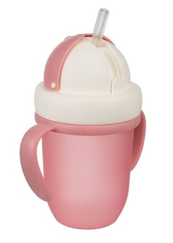 Canpol babies Hrnček so silikónovou slamkou - růžová, 210 ml