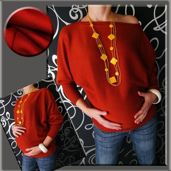 Tehotenský asymetrický svetrík - červená / tehlová