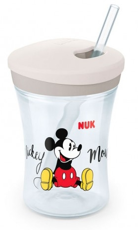 Niekapajůci hrnček NUK Action Cup zo slámkou,  230 ml - Mickey