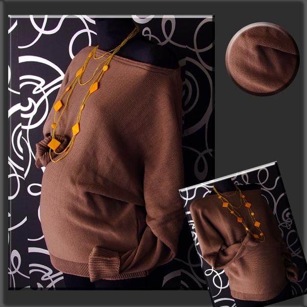 Tehotenský asymetrický svetrík - kakao