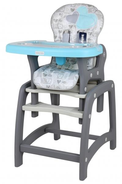 BABY MIX Jedálenská stolička 2v1 - Srdce modrá