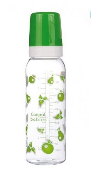 Canpol babies Fľaštička s potlačou 250 ml, Ovoce - zelená