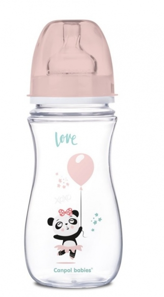 Canpol Babies Antikolik. fľaštička so širokým hrdlom, Exotic Animals, 300 ml - ružová