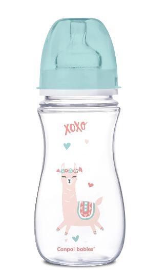 Canpol Babies Antikolik. fľaštička so širokým hrdlom, Exotic Animals, 300 ml - zelená