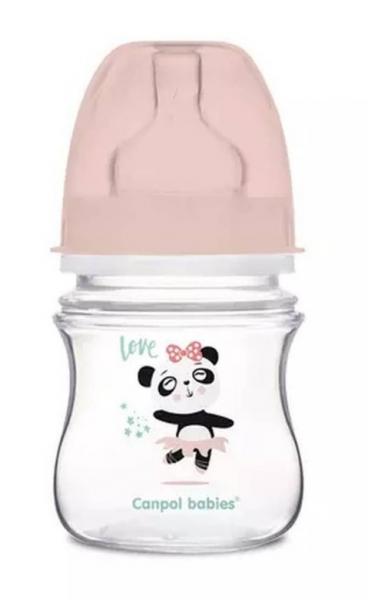 Canpol Babies Antikolik. fľaštička so širokým hrdlom, Exotic Animals, 120 ml - ružová