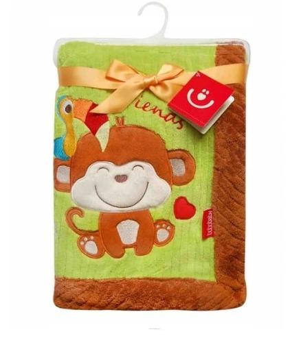 BOBO BABY Detská deka v darčekovej krabičke, 76x102 cm - Opička, zeleno-hnedá
