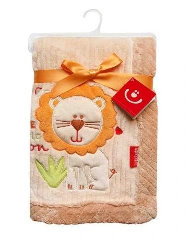 BOBO BABY Detská deka v darčekovej krabičke, 76x102 cm - Lev, krémová