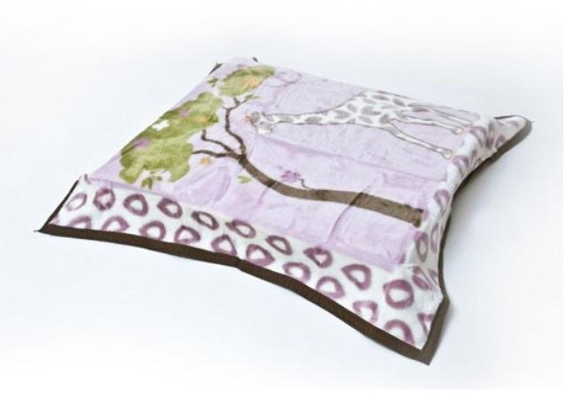 BOBO BABY Dětská akrylová deka 91x102 cm - Žirafa, fialová