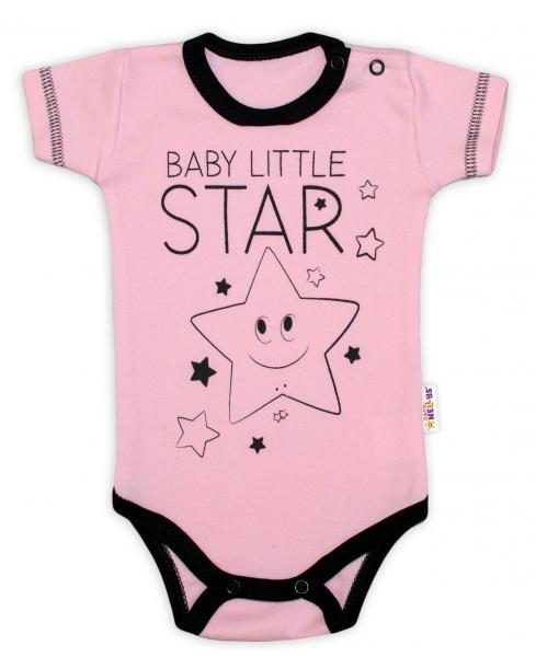 Body krátky rukáv Baby Nellys, Baby Little Star - ružové, veľ. 86
