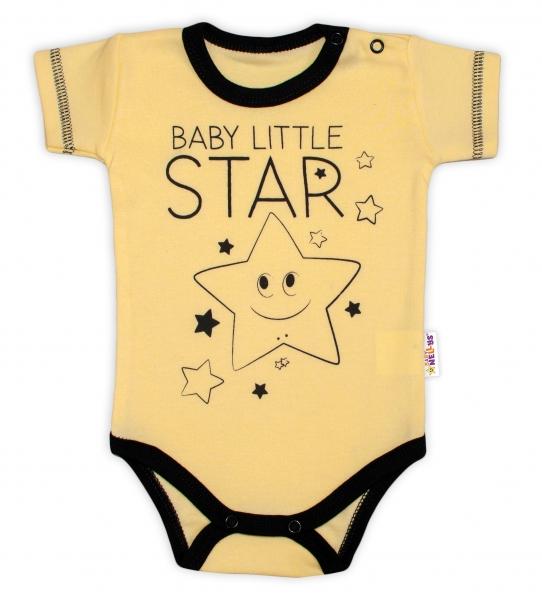 Body krátky rukáv Baby Nellys, Baby Little Star - žlté, veľ. 86