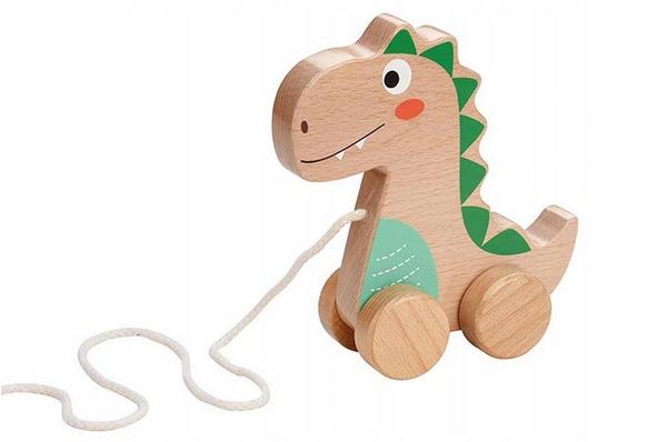 Lenin Edukačná drevená hračka 15 cm ťahacie - Dinosaurus