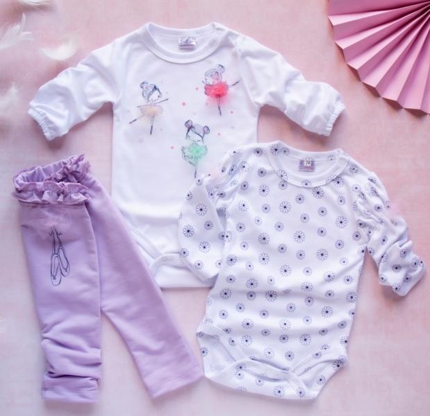 K-Baby 3 dielna sada - 2x body dlhý rukáv, tepláčky - Baletka lila, vel. 80-80 (9-12m)