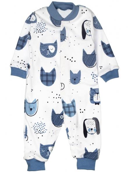 Baby Bavlnený overal bez šlapiek - ANIMAL, modrá, biela