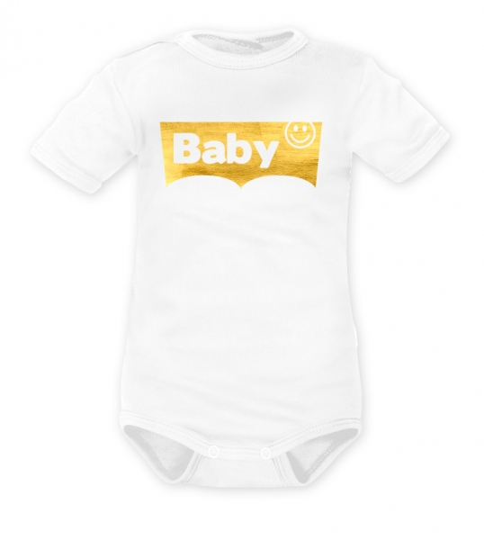 DEJNA Body krátký rukáv Baby - biele, zlaté
