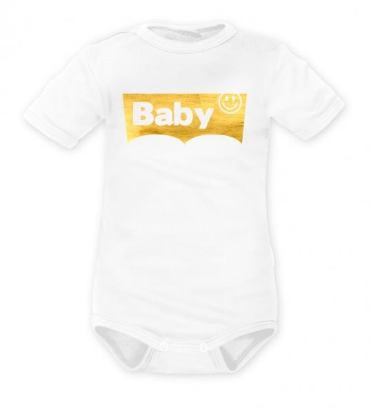 DEJNA Body krátký rukáv Baby - biele, zlaté, vel. 80