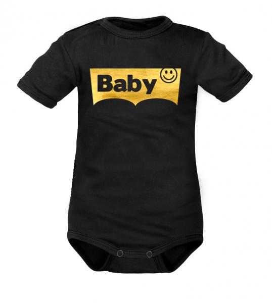 DEJNA Body krátký rukáv Baby - čierne, zlaté, vel. 74