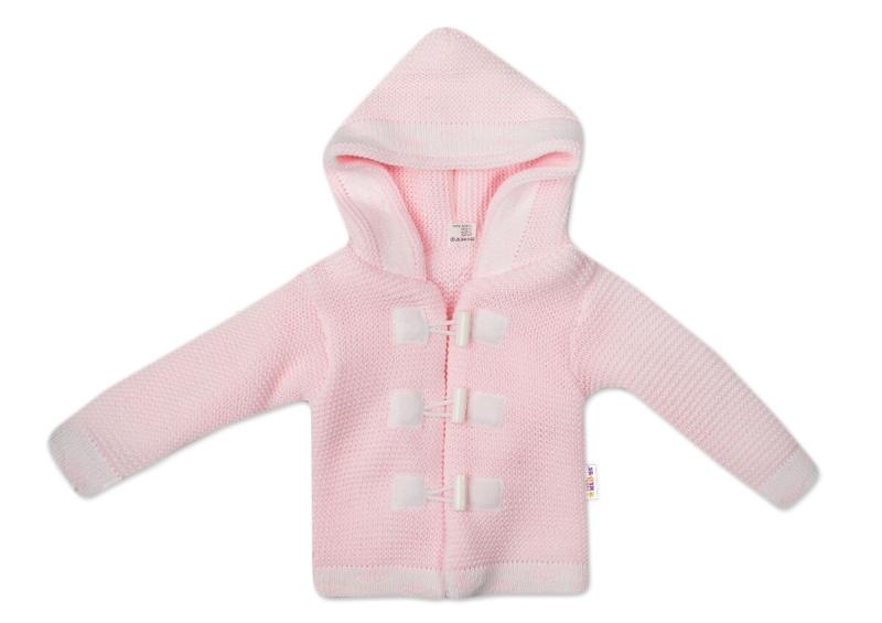 Baby Nellys Dvojvrstvový dojčenský svetrík s kapucňou - ružový, veľ. 86