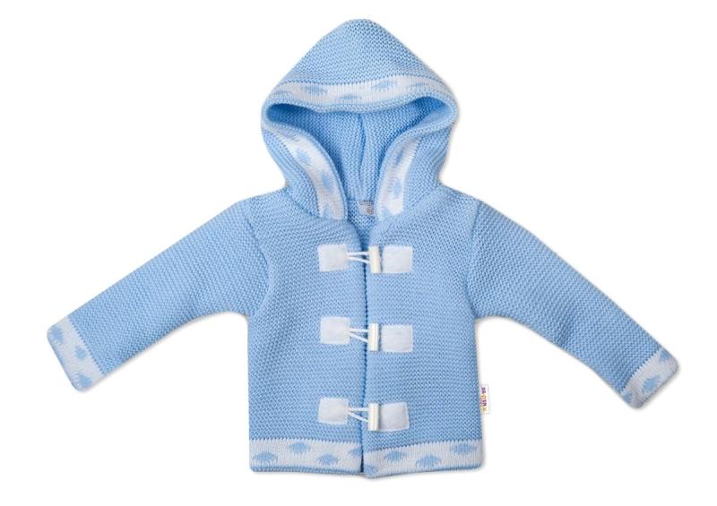 Baby Nellys Dvojvrstvový dojčenský svetrík s kapucňou - modrý, veľ. 74