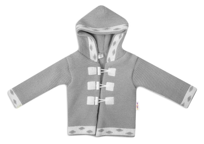Baby Nellys Dvojvrstvový dojčenský svetrík s kapucňou - šedý, veľ. 62