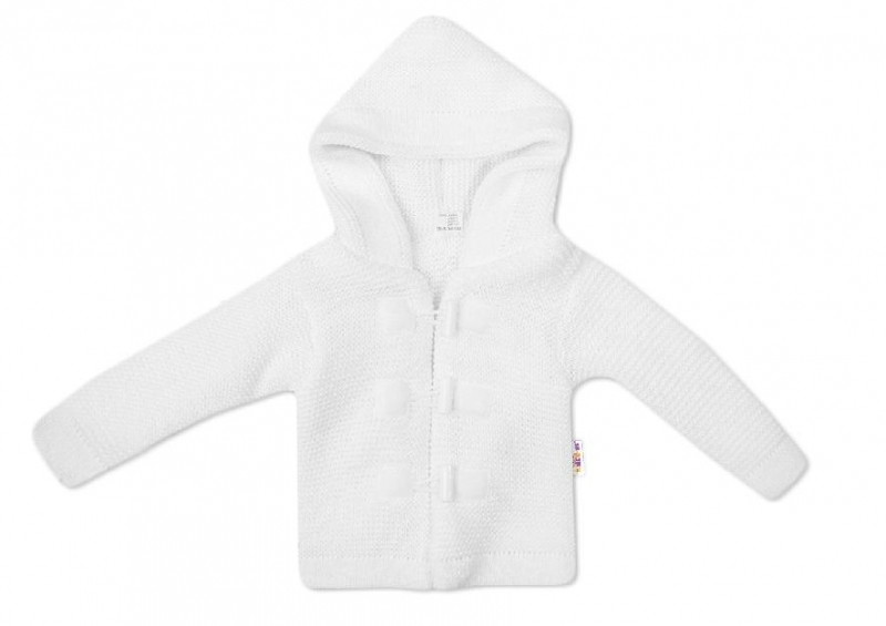 Baby Nellys Dvojvrstvová dojčenská bundička, svetrík - biely-#Velikost koj. oblečení;56 (1-2m)