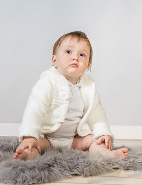 Baby Nellys Dvojvrstvová dojčenská bundička, svetrík - biely, veľ. 80-#Velikost koj. oblečení;80 (9-12m)