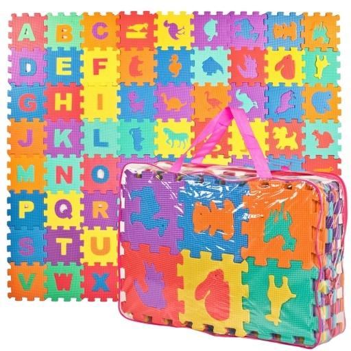 Penové puzzle písmena + ZOO, 72 ks