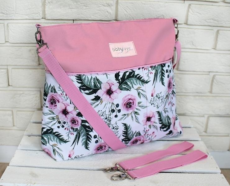 Štýlová taška na kočík Baby Nellys Hand Made - Květinky/flowers - růžová
