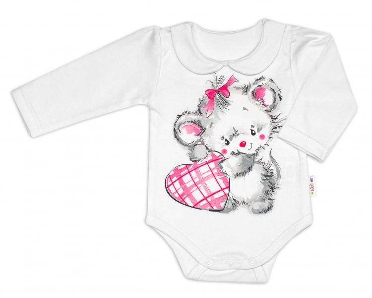 Baby Nellys Bavlnené dojčenské body, dl. rukáv, Mouse Love - biele-62 (2-3m)
