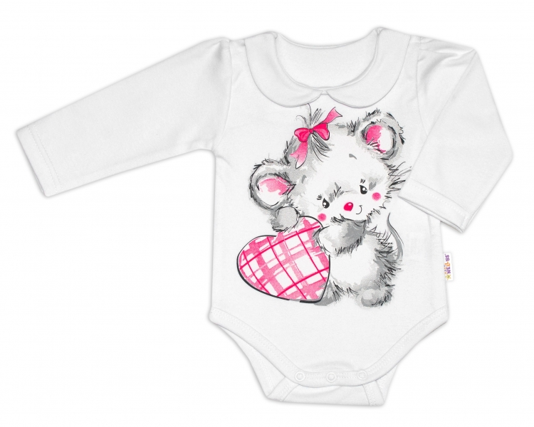 Baby Nellys Bavlnené dojčenské body, dl. rukáv, Mouse Love - biele, veľ. 80