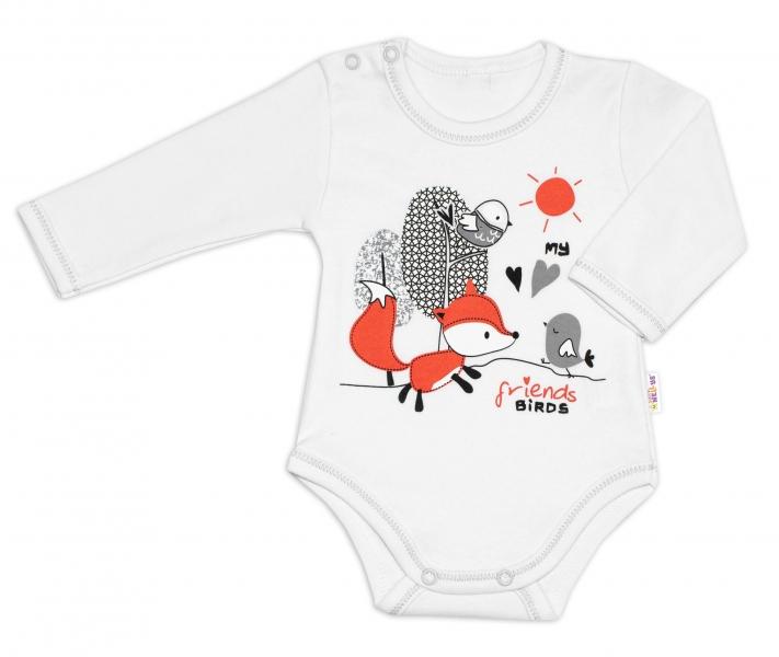Bavlnené dojčenské body, dl. rukáv, Fox - biele, veľ. 74
