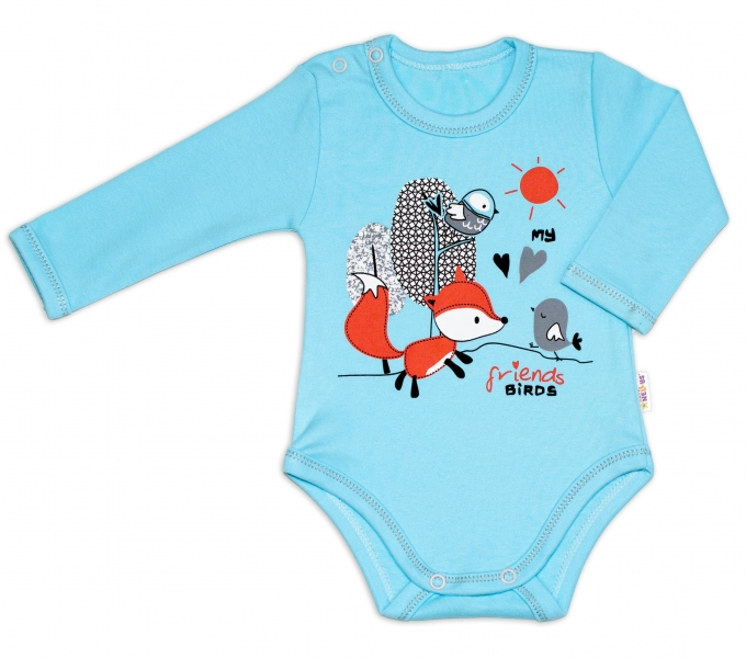 Baby Nellys Bavlnené dojčenské body, dl. rukáv, Fox - tyrkysové