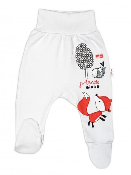 Baby Nellys Bavlnené dojčenské polodupačky, Fox - biele, veľ. 86