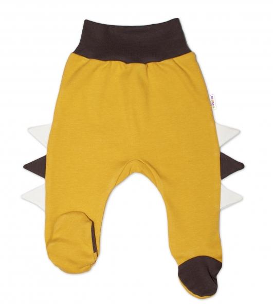 Baby Nellys Bavlnené dojčenské polodupačky, Crocodiles - horčicové, veľ. 62