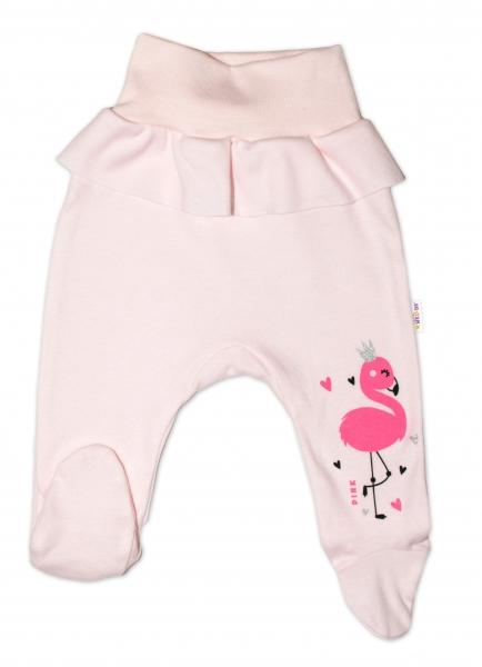 Baby Nellys Bavlnené dojčenské polodupačky, Flamingo - růžové, veľ. 74